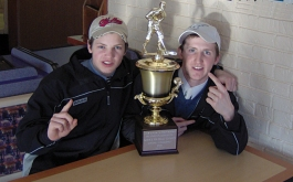 Ben and younger brother Jon Jessome '07 sit proudly with their New England Championship hockey trophy after a highly successful 2005-2006 season. Ben attri-butes much of his growth at Hebron to his competitive athletic experience, which developed leadership and communication skills that were catalyst to his election to Nova Scotia legislature.